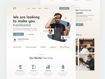 The Cut - Barbershop Landing Page clean clean ui company web clean design barber shop barbershop barbers barber enterpreneur ui design landing salon haircut landing page landingpage website