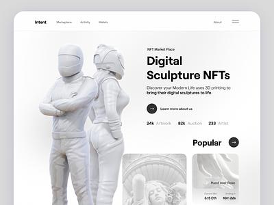 Intent - Digital Sculpture NFTs webdesign cryptoart minimalist modern sculpture sculpting digital nfts nft branding 3d ui design cryptocurrency crypto clean website ui design landing page landingpage