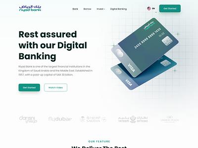Riyad Bank - Personal Banking dubai arabic arabic bank islamic bank islamic islam cards credit card personal banking ui ux redesign bank design clean website landingpage landing page ui design ui