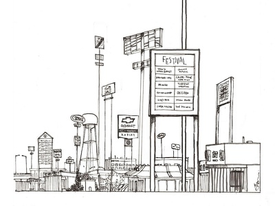 Sprawl (pre-color) illustration drawing ink analog america suburbia suburbs signs art photoshop afo strip malls line art drawing studio