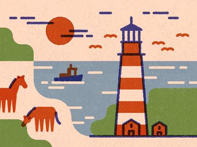 Shinkoteeg boat delmarva virginia chincoteague assateague horses lighthouse chesapeake sun eastern shore illustration justin tran