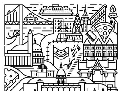 Tattoo new york city lines illustration design tattoo wisconsin madison nyc dc