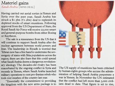 Monocle 90 / Saudi Arabia saudi arabia justin tran udder weapons usa america illustration editorial monocle