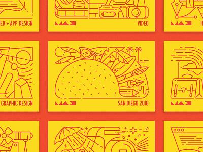 Adobe MAX postcards adobe max san diego justin tran french paper screenprint mamas sauce postcards design illustration