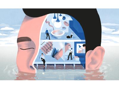 Meditate at work illustration productivity dropbox meditation