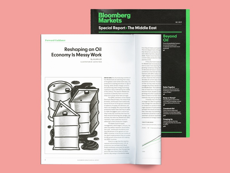 Bloomberg Markets / The Middle East middle east oil editorial illustration bloomberg