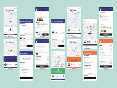 Service and job tracking - Helpify App (On-demand service app) on demand service app map design time tracking work tracking product design tracking uber for x ux dailyui app minimal ui flat design