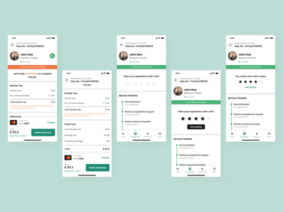 Make payment and rate the service - Helpify App review rating ios app ui design app design product design reviews and rating screen make payment screen on demand service app uber for x ux dailyui app minimal ui flat design