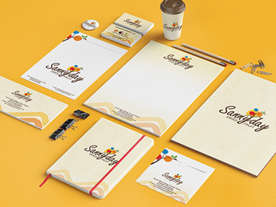 """Brand Identity for """"Sunny day"""" company like concept illustration stationary packaging creative logo design brand identity design branding logo"""