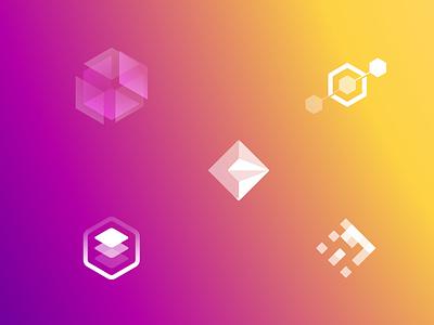 Rhombus icon for logo wip branding research diamond cube rhombus logotype icon