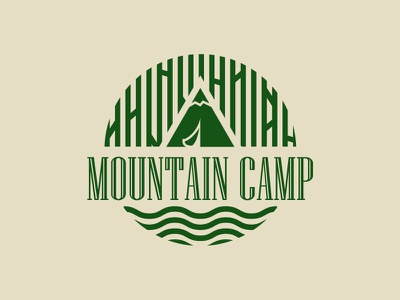 Mountain Camp Logo tent camping camp mountain logo