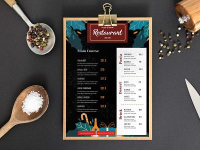 Flat Design Christmas Menu Template premium download psd design illustration logo
