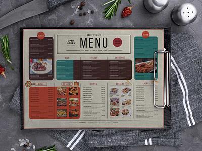 Restaurant Menu Horizontal Design Template download mock-ups branding logo illustration design