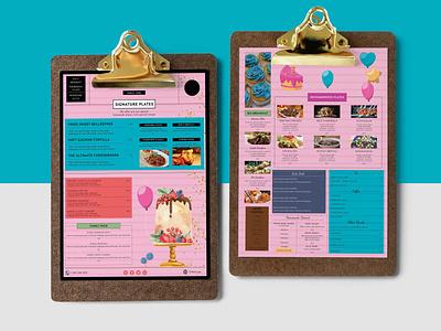 Birthday Dinner Party Menu Design Template illustration design