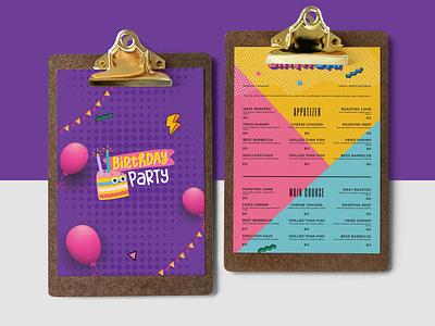 Children Party Menu Designs Templates illustration design