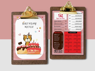 Printable Kids Birthday Menu Designs Templates logo illustration design