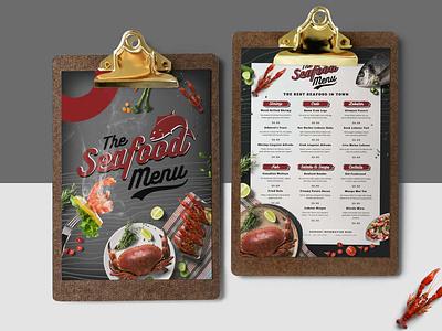 Seafood Restaurant Menu Design Templates illustration design