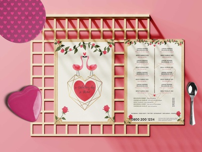 Modern Valentine Menu Design Template psd logo illustration design
