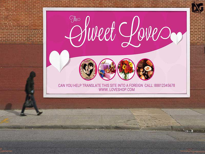 free sweet love billboard design psd template by arun kumar