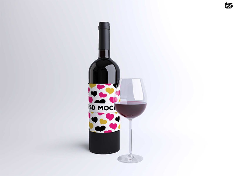 Free Psd Wine Gl Bottle Label Mockup Template Templates Mockups