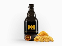 Free Beer Bottle With Snacks Mockup