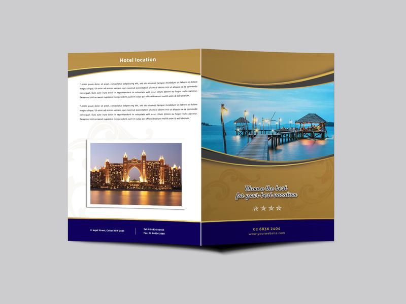 Hotel Resort Bi Fold Brochure Design Template design design design psd template psd templates download psd download 2018 download psd