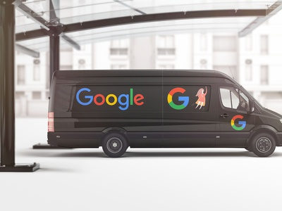 Premium Black Google Car Wrap Design Mockup