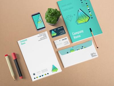 Free Pre Made Branding Scene Mockup