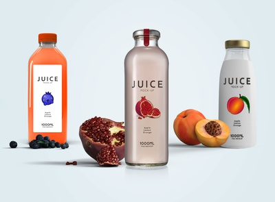 Plastic Juice Bottle Label Mockup