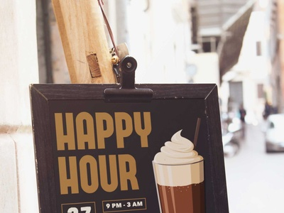 Free Happy Hour Cafe Poster Mockup