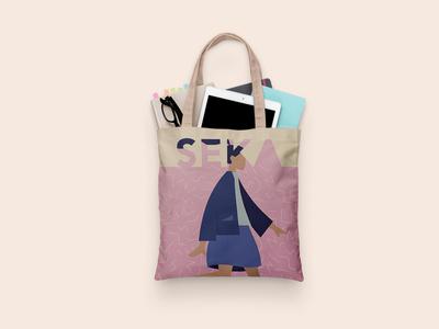 Free Seka Tote Clothe Bag Mockup