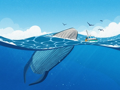 Crew and whales in the sea blue sailor crew sky whale wave sea ship design illustration