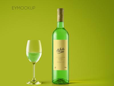 White Wine Bottle Mockup logo illustration design download mock-ups mockup psd download mock-up download mockup mockups psd mockup bottle wine white