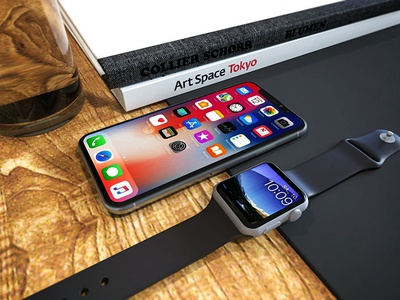 factory authentic 22b48 7d857 Free Iphone X With Apple Watch Display Mockup by Anjum on Dribbble