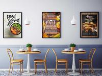 Free Fast Food Corner Wall Posters Mockup