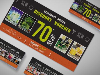 All Drink Restaurant Gift Voucher Design Template