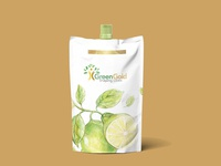 Green Oil Pouch Label Mockup