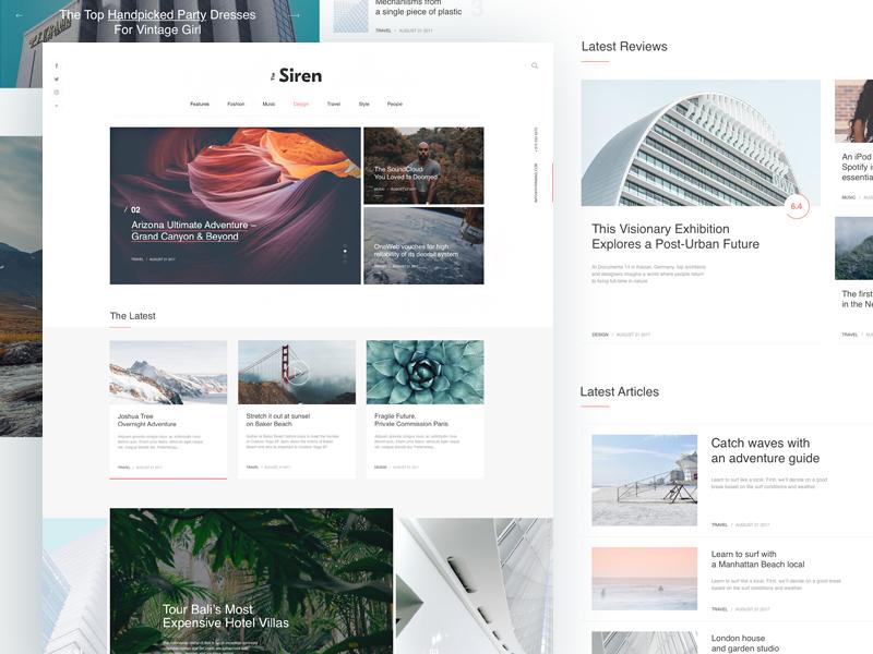 The Siren Wordpress Blog&Magazine psd player page magazine layout free flat design clean blog ui