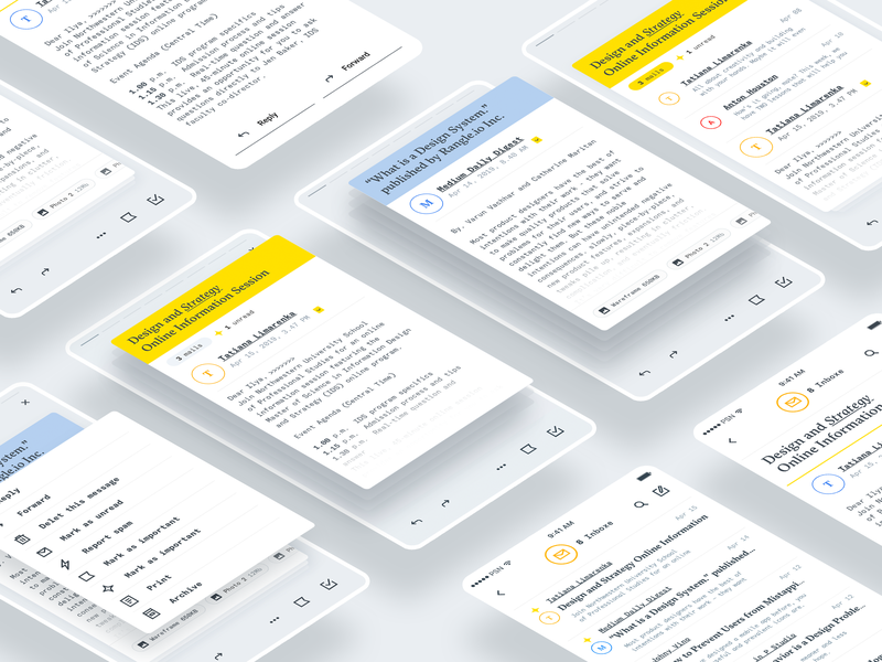 Mail ✖️✖️ Stories appdesign ux sketch app font minimal modern mobile mail concept layout clean design ui