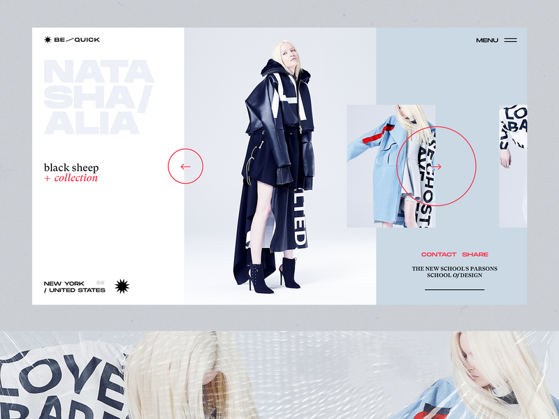 N+ALIA Website Special Collection landing page slider page website web interface interaction fashion minimal flat ux concept clean layout design ui
