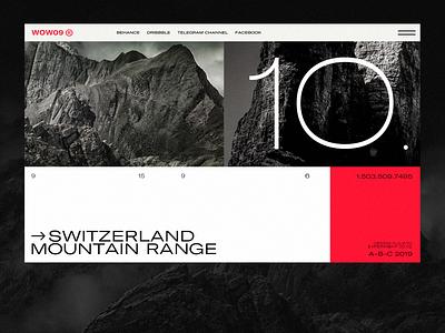Switzerland Mountain Range travel slider ux page minimal concept layout flat clean design ui