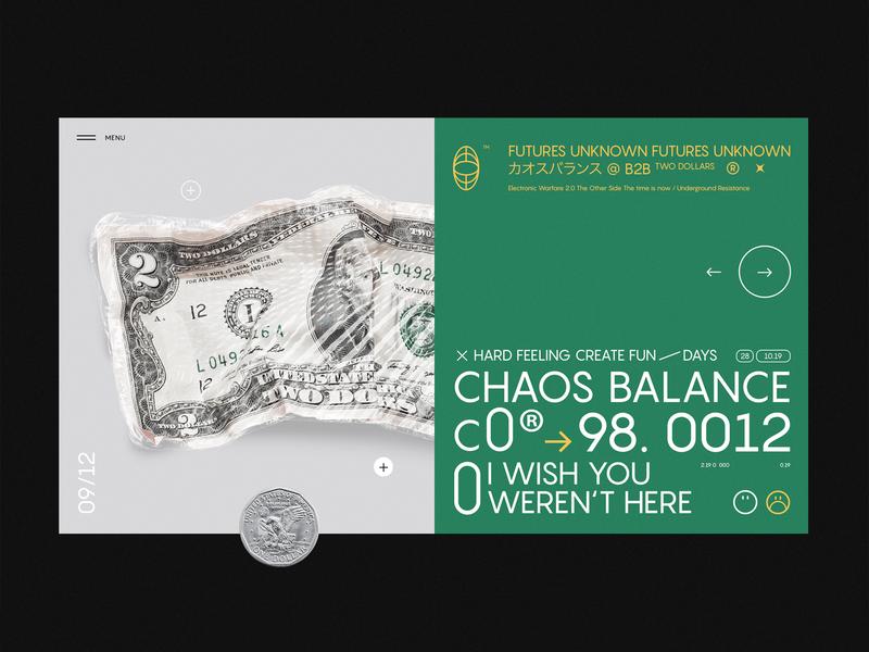 CHAOS ⊗⊕⊗ balance 98.0012 typogaphy slider minimal page flat layout ux concept dollar bank clean design ui