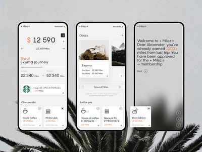 Air → Miles 𐄂𐄂 App app design app mobile travel airplane minimal concept ux layout flat clean design ui