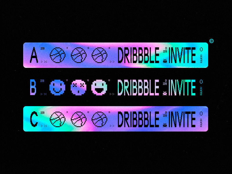 3 x Dribbble Invites Available ✹✹✹ pixelart invite invites hologram minimal stickers flat clean design
