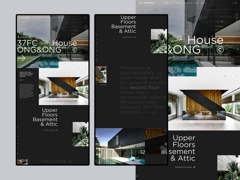 37FC/House → ONG&ONG Pre Ltd ✳ slider minimal page concept ux layout flat clean design ui