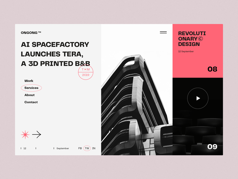 Architecture ✳ Magazine → ONGONG ✳ slider minimal page concept ux layout flat clean design ui