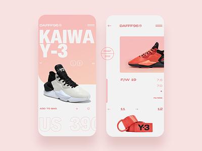 DAFFF96 → KaiwaY-3 App typogaphy app design app shop shoes minimal ux flat clean design ecommerce app ecommerce ui