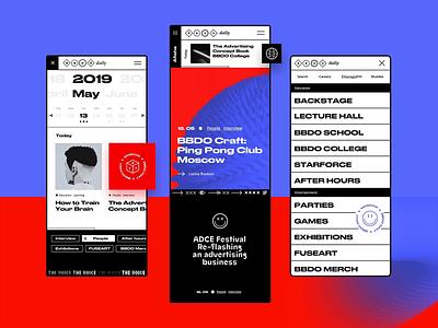 BBDODAILY Mobile ✹✹✹ typogaphy magazine afisha articl media animation minimal page layout ux flat clean design ui