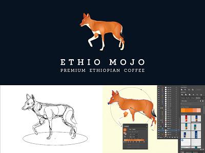 Ethio Mojo coffee logo work in progress illustration ethiopia ethiopian wolf logo design coffee