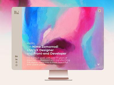 Nima Zomorrodi Personal website UI/UX redesign adobe xd trend 2019 solid watercolor personal ux design ui design website web design ux uiux ui